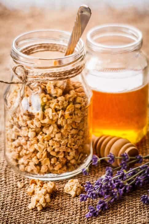 Granola, Lavander flowers and Honey