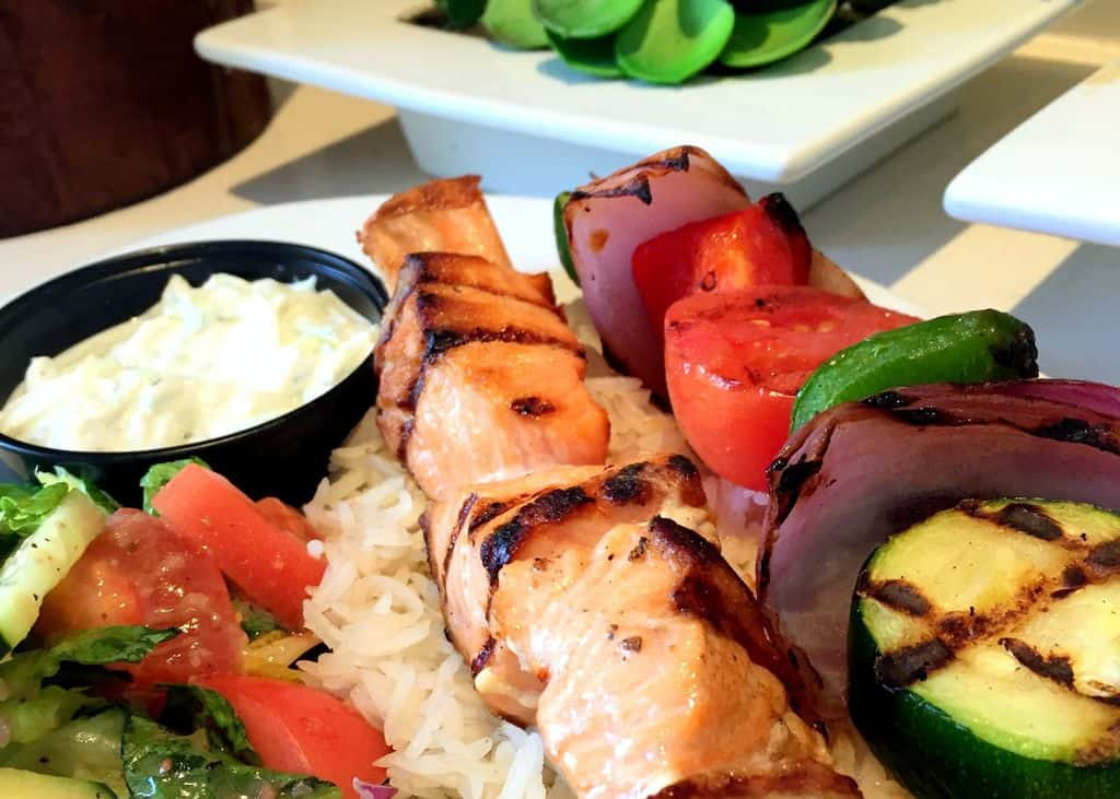 Dulles Town Center Mediterranean Restaurant Salmon Skewer